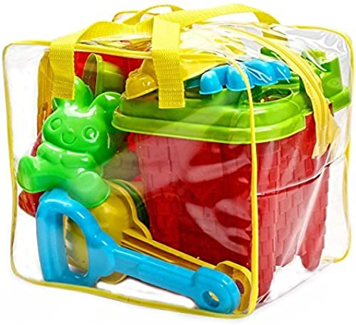 Bo-Toys Beach Sand Toys Set in Zipperot Bag Castle Bucket, 15 Piece by Bo-Toys