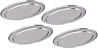 Kosma Set of 4 Stainless Steel Oval Trays – Serving Platters with Mirror Finish, Size 45cm – Big Serving Platters for Parties