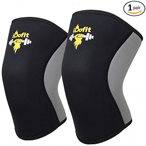 iDofit Knee Sleeves Support & Compression for Weightlifting, Powerlifting - High Performance 5mm Neoprene Knee Sleeve Support for Cross Training WOD, Squats, Gym Workout - for Men & Women
