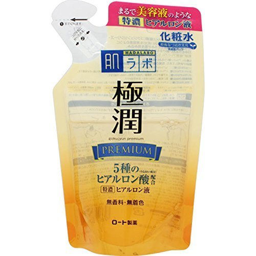 Rohto New Hadalabo Gokujun Premium Hyaluronic Lotion 170ml - Refill (Green Tea Set)