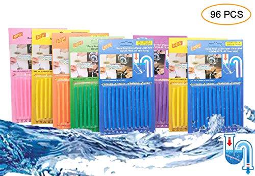 GOTONE 96 Piezas Limpiador de desagües Limpia Tuberias, Drain Cleaner Sticks, Mantiene Las tuberías de desagüe limpias y Libres de atascamientos