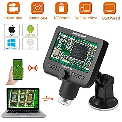 WiFi Wireless LCD Digital USB Microscope,Koolertron 4.3 Inch 1080P Camera Magnifier 1000X Magnification 2400x1584 Photo Capture 1920x1080 Video Recorder Compatible with iPhone Andoird iPad Mac Windows