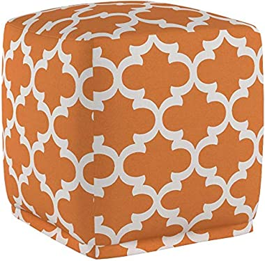"Majestic Home Goods Peach Trellis Indoor/Outdoor Bean Bag Ottoman Pouf Cube 17"" L x 17"" W x 17"" H"