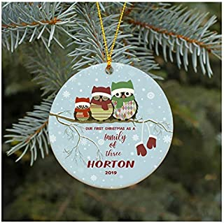 Suopinging Christmas Ornament Our First Christmas As A Family of Three Ornament 2019 Horton Christmas Tree Ornament 2019 Present Lovely Ceramic Tree Decoration Happy Holidays