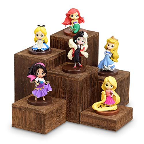 Mooca Wooden 6 Pcs Square Risers for Display Jewelry and Accessories Display Stand, Brown