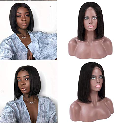 10Inch Lace Front Short Bob Wigs-for Black Women 13x4 Lace Frontal Blunt Cut Wigs Pre Plucked Brazilian Virgin Human Hair Short Bob Wigs Ear to Ear Wigs 150% Density