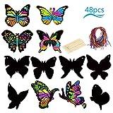 KATOOM 48stk Kratzbilder Kinder Set Schmetterling Kratzpapier Regenbogen Scratch Paper