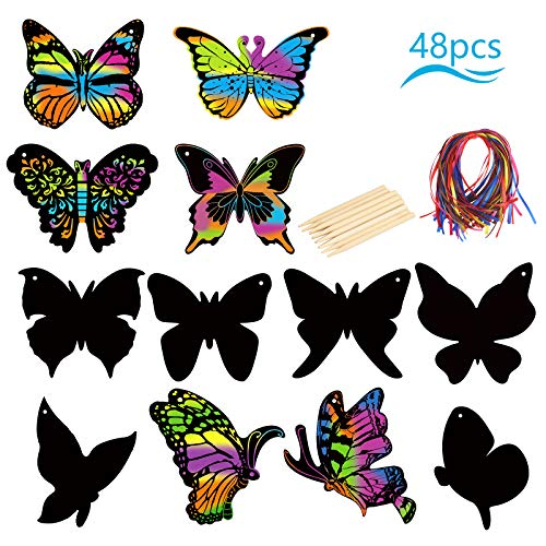 KATOOM 48stk Kratzbilder Kinder Set Schmetterling Kratzpapier Regenbogen Scratch Paper Frühling Fensterbilder Rubbelkarte zum Basteln Party Mitgebsel Geschenk für Kindergeburtstage DIY Dekoration
