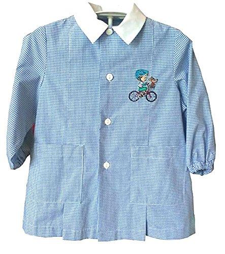 Grembiule Siggy - Bicicleta infantil para niños con diseño de perro azul, para la escuela y la infancia, 3 años, altura 98 cm, hombro 29 cm, botones