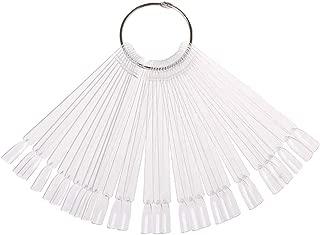 JASSINS 50 Pcs False Nail Sticks Polish Board Nail Polish Practice Display Art Tips with Metal Split Ring (Transparent)