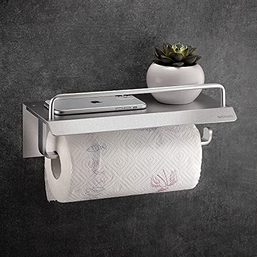 Wangel Rollenhalter ohne Bohren, Küchenrollenhalter, Toilettenpapierhalter, Patentierter Kleber + Selbstklebender Kleber, Aluminium, Matte Finish