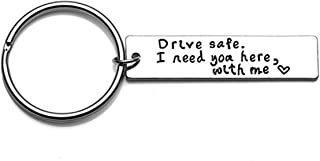 LALANG Drive Safe I Need You Here with Me Safe Driving Keychain Personalized Boyfriend Gift