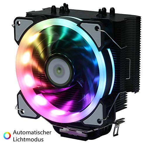 Miwatt 120MM RGB-Premium CPU Kühler mit, mit Ständer, Regenbogenlicht, automatischem Regenbogenmodus