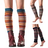 pu ran Frauen-Wärmer-Winter-gestreifte Gestrickte Bein-fußlose Knie-hohe Art- Und Weiseaufladungs-Socken Navy blau