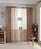 Lot de 1 Voilage Rideau en Voile Paravent Motif de Papillon pour Porte Fenêtre Balcon 200cm x 100cm - Café