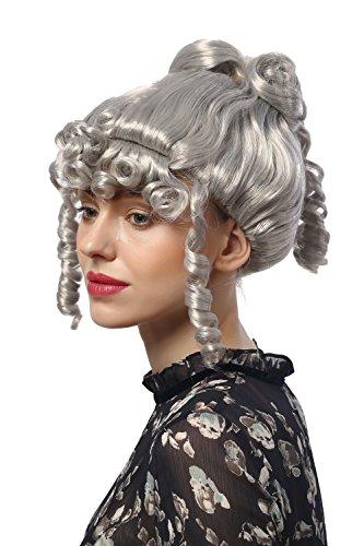 WIG ME UP - 90713-ZA68A Perücke Damen Karneval Halloween Barock Biedermeier Romantik Renaissance Grau Silbergrau Korkenzieherlocken