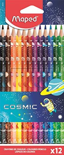Maped – Buntstifte Color'Peps Tattoo Cosmic – Dreieckstifte ergonomisch – lebendige Farben – entspricht den Spielregeln – 12 Buntstifte aus Holz, dekoriert