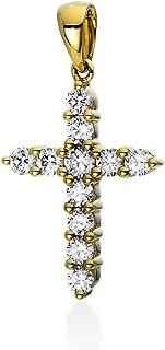CIONDOLO CROCE 30x14,5mm da 585 Oro Oro Bianco Gioielli Collo semplici unisex