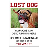 VictoryStore Custom Lost Dog Sign - 12 inches x 18 inches Corrugated Plastic Sign - 2 Stakes per Sign - Add Photos, Description and Phone Number (25)