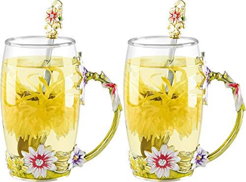 COAWG Taza Grande de Vidrio Esmaltado, Crisantemo Cristales de Cristal Claro Tazas de Té y Café con Mango de Flores Regalo para Profesor Amigo Cumpleaños Navidad San Valentín 350 ml - 2Pcs