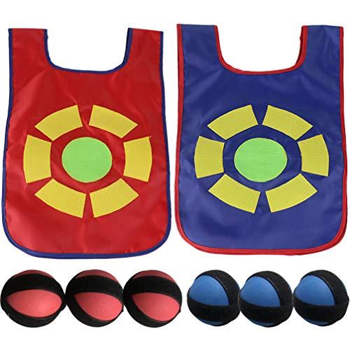 CLISPEED Kinder Stick Und Weste Spiel Set Dodge Ball Klebrige Ziel Ball Weste Outdoor-Spiel Requisiten mit Weichen Fleecebällen Sicher für Kinder Kinder