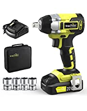 """20V Brushless Cordless Impact Wrench Kit w/ 1/2"""" Hog Ring Anvil, 265 ft-lbs Torque, 2300 RPM Variable Speed, included 2.0 Ah Li-ion Battery, Fast Charger, 4 Pcs Sockets, Carry Bag"""