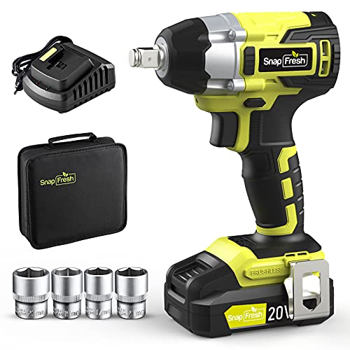 """20V Brushless Cordless Impact Wrench Kit w/ 1/2"""" Hog Ring Anvil Chuck, 2400 Inch-lbs Torque Max, 2300 RPM Variable Speed. Included 2.0 Ah Li-ion Battery, Fast Charger, 4 Pcs Sockets, Carry Bag"""
