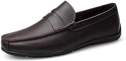 Qzny Herren Lederschuhe 2018 Freizeitschuhe Loafers Schuhe faul Schuhe atmungsaktiv (Farbe   B, Größe   38)