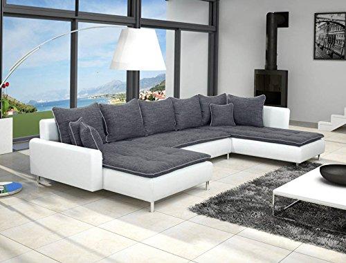 Dante - Divano angolare panoramico a U, colore: Grigio scuro/ Bianco