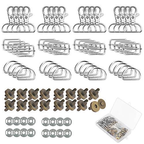 ZERHOK 64 Pezzi Snap Magnetico,16 Set Bottoni Magnetici e 16 Set Fibbia Scorrevole in Metallo Fai da Te Artigianale Cucito Bottoni per Artigianato Borse in Pelle(Rame)