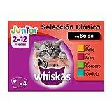 Whiskas Comida Húmeda para Gatos Junior Selección Carnes en Gelatina,...