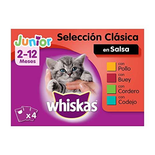 Whiskas Multipack de 4 bolsitas de 100g de selección de carnes para gatos junior (Pack de 13)