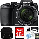 Nikon COOLPIX B500 16MP 40x Optical Zoom Digital Camera Black Bundle with 16GB Memory Card, Camera Bag for DSLR and 4X Rechargeable AA Batteries with Charger