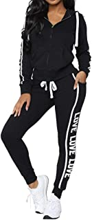 Women's Casual Hooded Letter Print Zipper Sweatshirt+Drawstring Lace-Up Side Pocket Sweatpants Suit
