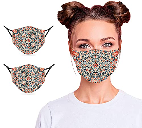 2PCS Face Mask with 4pcs Filters Made in USA, Floral Ornate Pattern Cultural Folk Persian Middle Eastern,Night Blue,Face Mask Mouth Cover for Teen Kid