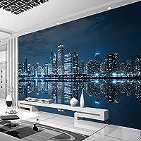 カスタム壁画壁紙黒と白ニューヨークナイトビューシティビルディングリビングルームソファテレビ背景壁-400x300cm