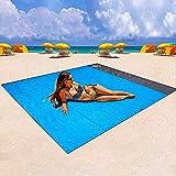 BIFY Picknickdecke 200 x 210 cm Stranddecke,wasserdichte,Sandabweisende Campingdecke 4 Befestigung...