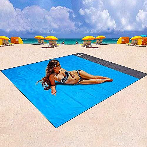BIFY Stranddecke sandfrei, 200 x 210 cm Picknickdecke,wasserdichte,Sandabweisende Campingdecke,Sandabweisend Maschinenwaschbar,leicht und tragbar, perfekt für Reisen, Camping, Strandurlaub