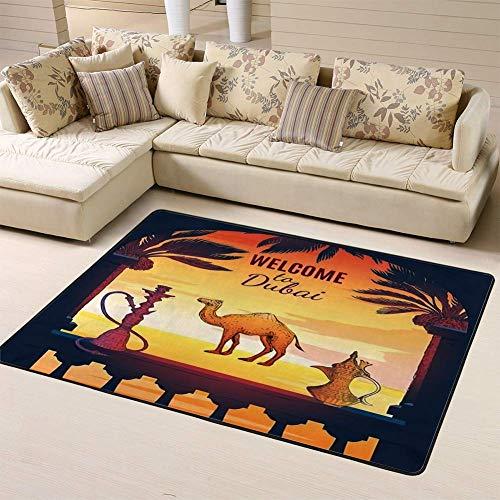 Liz Carter 63X48 inch Area Rug Rugs Teppich Dubai Square Zusammensetzung mit Terrassenrahmen Pitcher Shisha Palms Wolkenkratzer