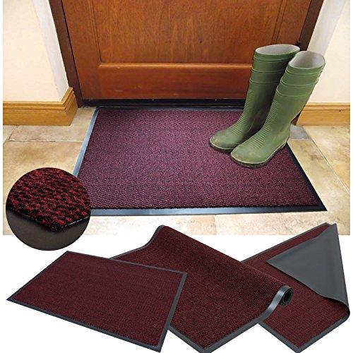 FB FunkyBuys - Tappetino antiscivolo per porte, misura grande, misura piccola, colore: Rosso/Nero