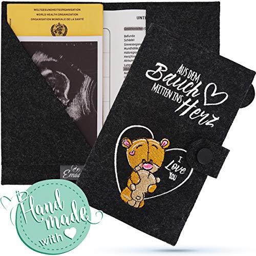 Emadele Funda para pasaporte de madre e hijo, hecha a mano, de fieltro, con compartimentos para ecografías, funda para cartilla de vacunación, formato para pasaporte de Austria