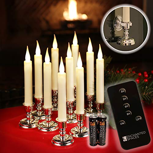 Set of 10 Flameless Ivory Window Candles with Removable Silver Candle Stands, 20 AA Batteries, Remote Control, Daily Timer, Window Suction Cups, Battery Operated LED Light