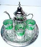 kenta artesanias Juego de té marroqui : Tetera para 6 y 3 Vasos + Bandeja 30 cm