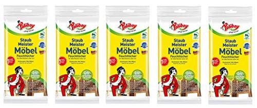 Poliboy - Staubmeister Möbel Feuchttücher - speziell für Holzoberflächen entwickelte Reinigungstücher - 5er Pack - 5x24 Tücher - Made in Germany