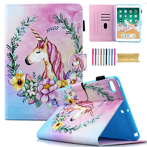 New iPad 9.7 2018 2017 Case, iPad Air 1 2 Case, AMOTIE PU Leather Stand Smart Case Cover with Auto Sleep/Wake for iPad 2018 (6th Gen) - iPad 2017 (5th Gen) - iPad Air 2 & 1, Unicorn Pink