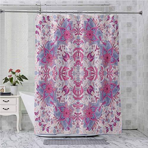 Aishare Store - Cortina de ducha con ganchos, diseño arabesco, bohemio, estilo oriental con flores, diseño antiguo, 70 pulgadas de largo, color rosa y azul pálido