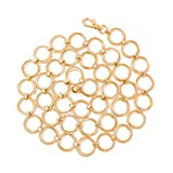Women's Gold Metal O Ring Link Chain Body Belt Ladies Circle Chain Dress Belts(FIt waist size below 39 Inches,a-gold)