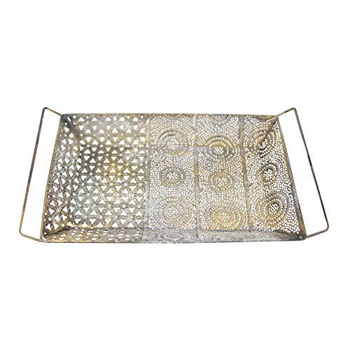 Flanacom Orientalisches Deko-Tablett Antik-Farben Vintage Orientalische Marokkanische Dekoration aus Metall - Dekoration für die Wohnung oder Garten mit Ornamenten (Dekotablett)