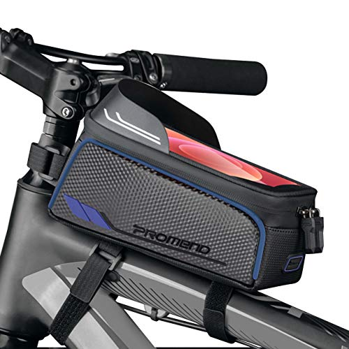 BTNEEU Bolsa Bicicleta Cuadro Impermeable Bolsa Movil Bicicleta Montaña con Parasol y Pantalla Táctil, Bolsa de Cuadro Bolsa Soporte Movil Bicicleta para Smartphones de hasta 6,8 Pulgada (Azul)