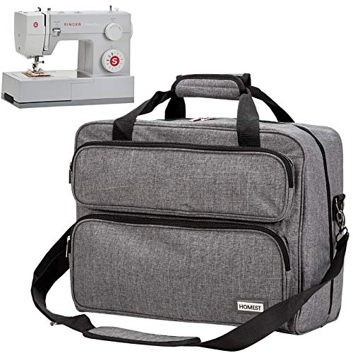 HOMEST Sewing Machine Carrying Case, Universal Tote Bag with Shoulder Strap Compatible with Most Standard Singer, Brother, Janome, Grey (Patent Design)